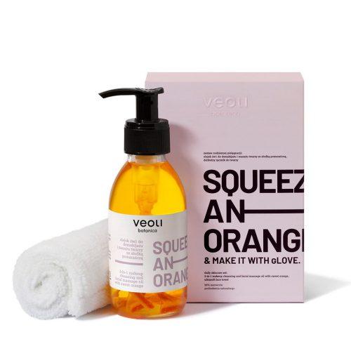 Olejek 2w1 do demakijażu i masażu twarzy z kawałkami pomarańczowy SQUEEZE AN ORANGE z Veoli Botanica
