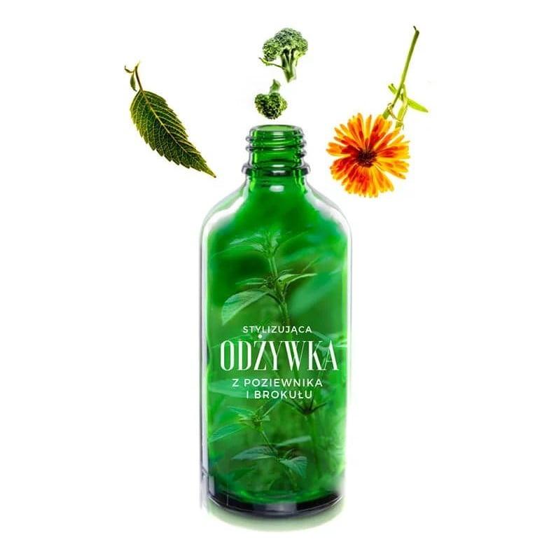 Roślinna odżywka do włosów poziewnik-nasiona brokuła z Trawiaste