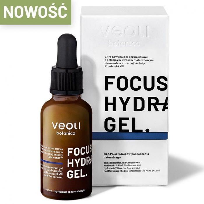 Veoli Botanica FOCUS HYDRATION GEL ULTRA Nawilżające serum żelowe z potrójnym kwasem hialuronowym i fermentem czarnej herbaty