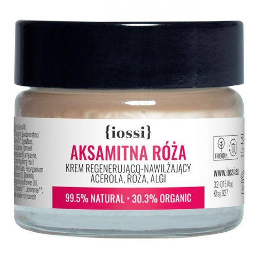 Aksamitna Róża. Krem regenerująco - nawilżający. Acerola, róża, algi. MINI z Iossi