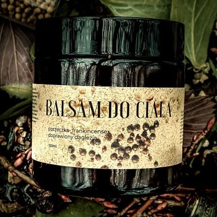 Balsam do ciała żywica frankincense – porzeczka, doprawiony daglezją od Trawiaste