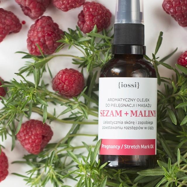 Sezam Maliny. Olejek przeciw rozstępom w ciąży z Iossi