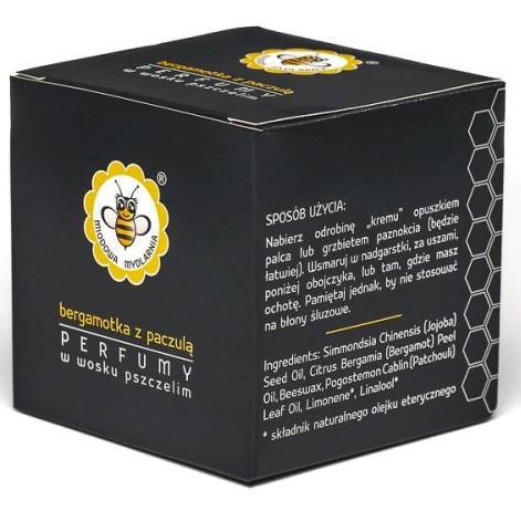 Perfumy w wosku pszczelim BERGAMOTKA Z PACZULĄ od Miodowa Mydlarnia